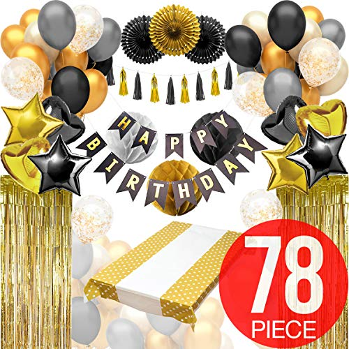 Black And Gold Party Decorations with Happy Birthday Banner - Birthday Party Decorations, Black And Gold Balloons, Tinsel Foil Fringe Curtains, Black and Gold Table Cover and More!