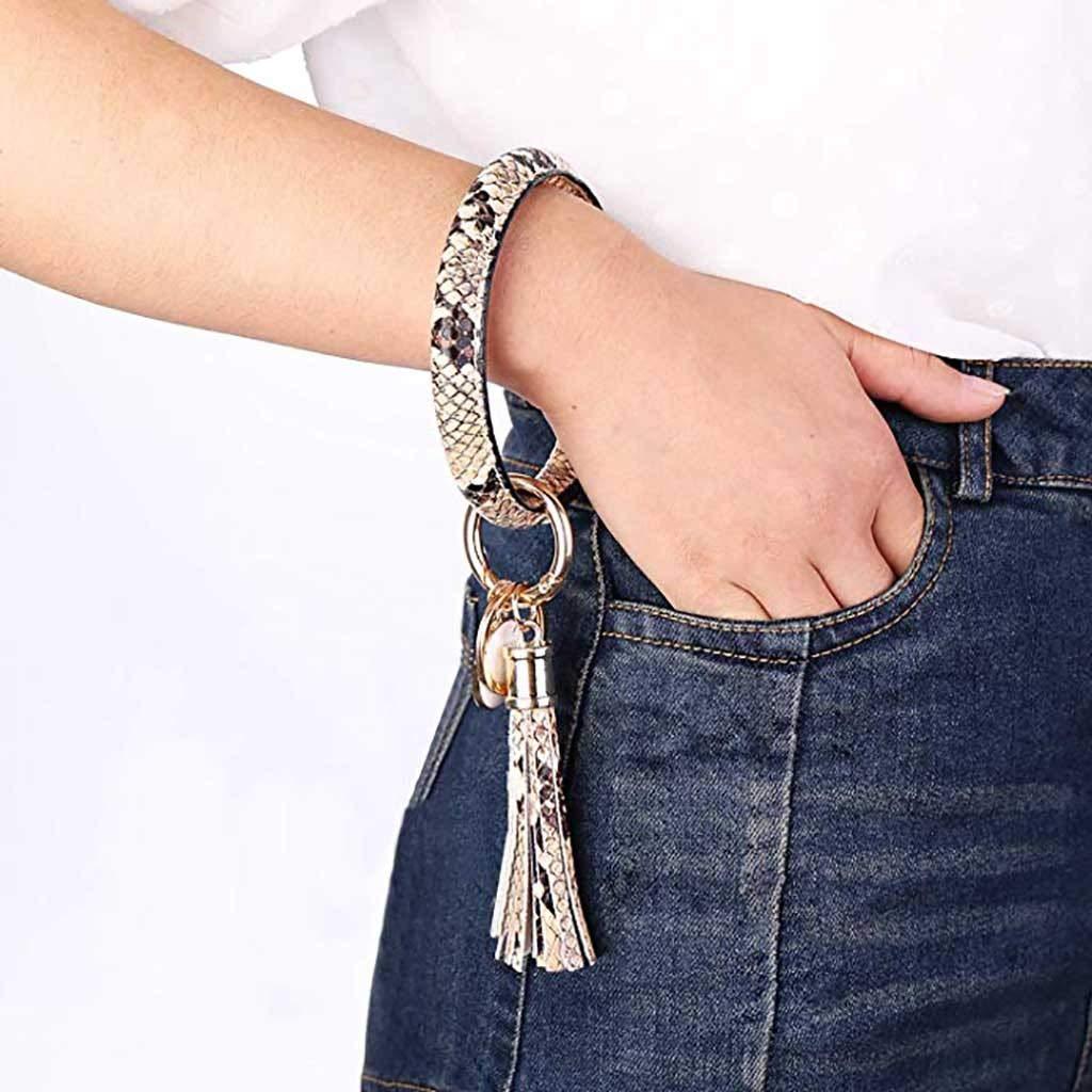 2020 Wristlet Keychain Bracelet Bangle Keyring Trend Simple Large Leather Bracelet Tassel Key Rings Jewelry for Women Girl