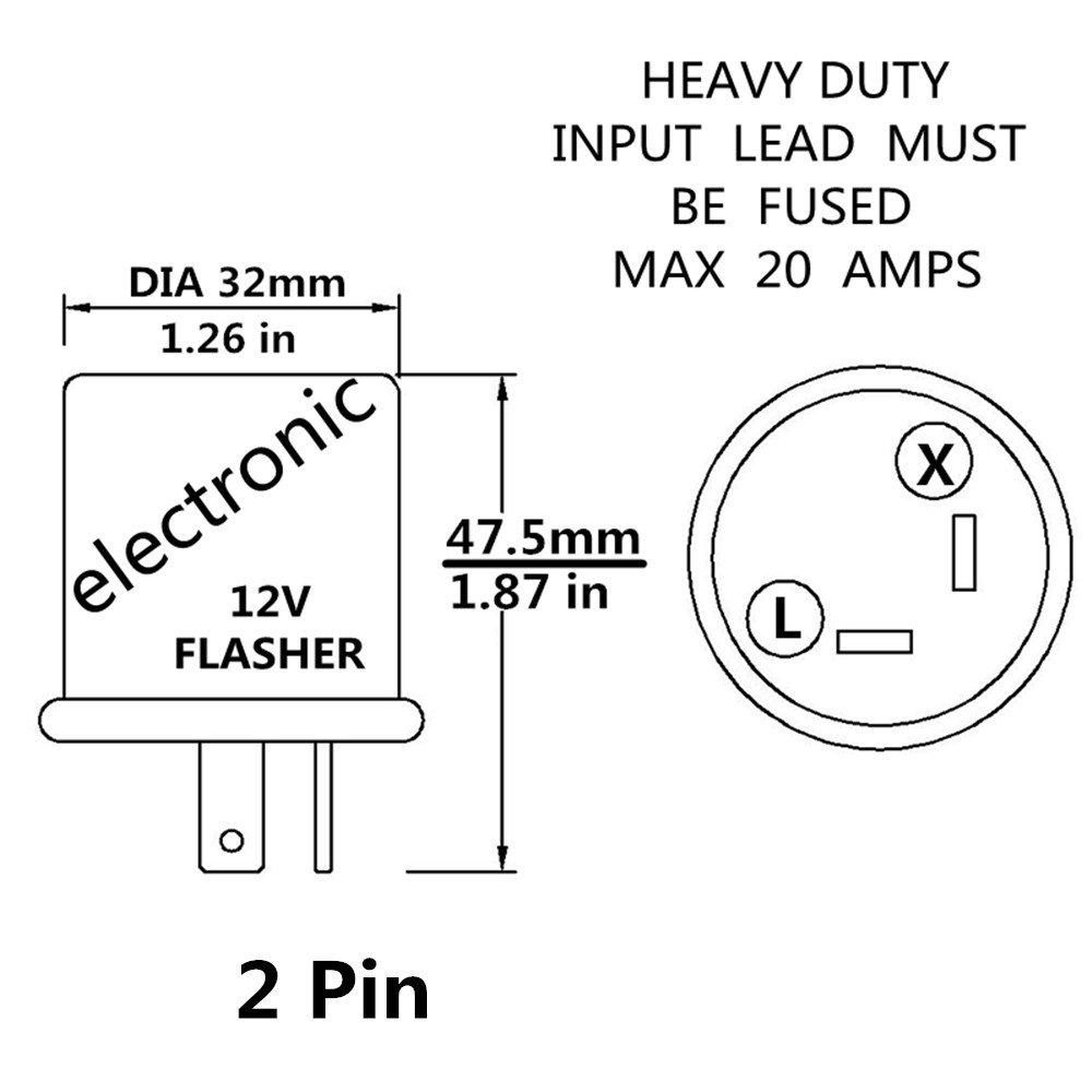 12v Heavy Duty 2 Pin Led Compatible Electronic Fixed 1968 Dodge Charger Wiring Diagram 6 Flasher Turn Signal Relay Automotive