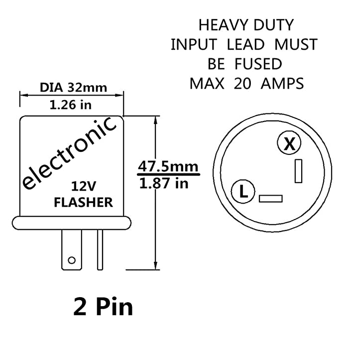 12V Heavy Duty 2 Pin Compatible Electronic Fixed Flasher Turn Signal on