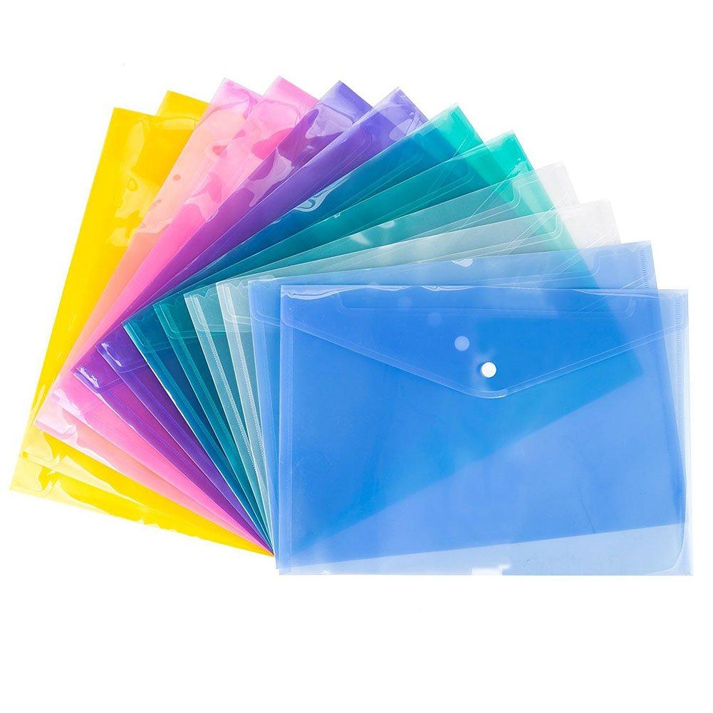 Oyfel 12x Transparent File Document Bag Plastic Snap Button Holder Wallets Envelope Folders Pockets for School Office Homework Supplies Storage Travel Accessories