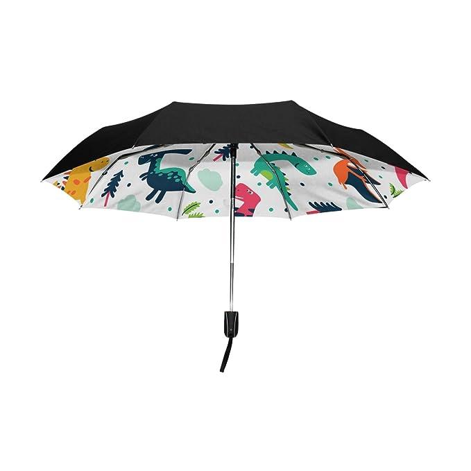 baihuishop - dinosaurios dibujos animados resistente al viento lluvia paraguas Auto abierto cerca 3 plegable resistente protección UV paraguas de viaje ...