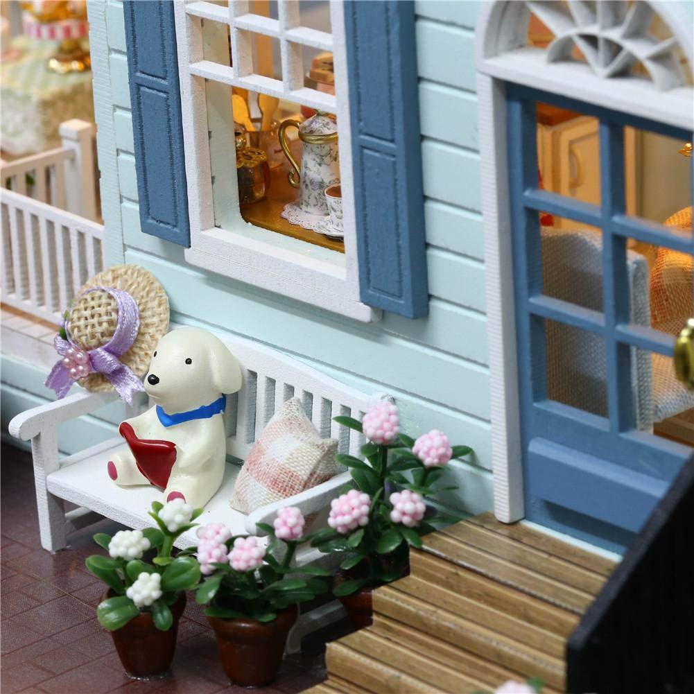 Puppenhaus Bausatz Mit LED-Leuchten,DIY Spielzeug Traumhaus,Miniatur Puppenhaus Kits,333223cm Mein kleines gr/ünes Haus