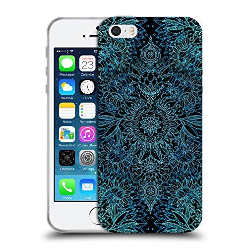 Officiel Micklyn Le Feuvre Noir et Aqua Modèles Doodle Étui Coque en Gel molle pour Apple iPhone 5 / 5s / SE