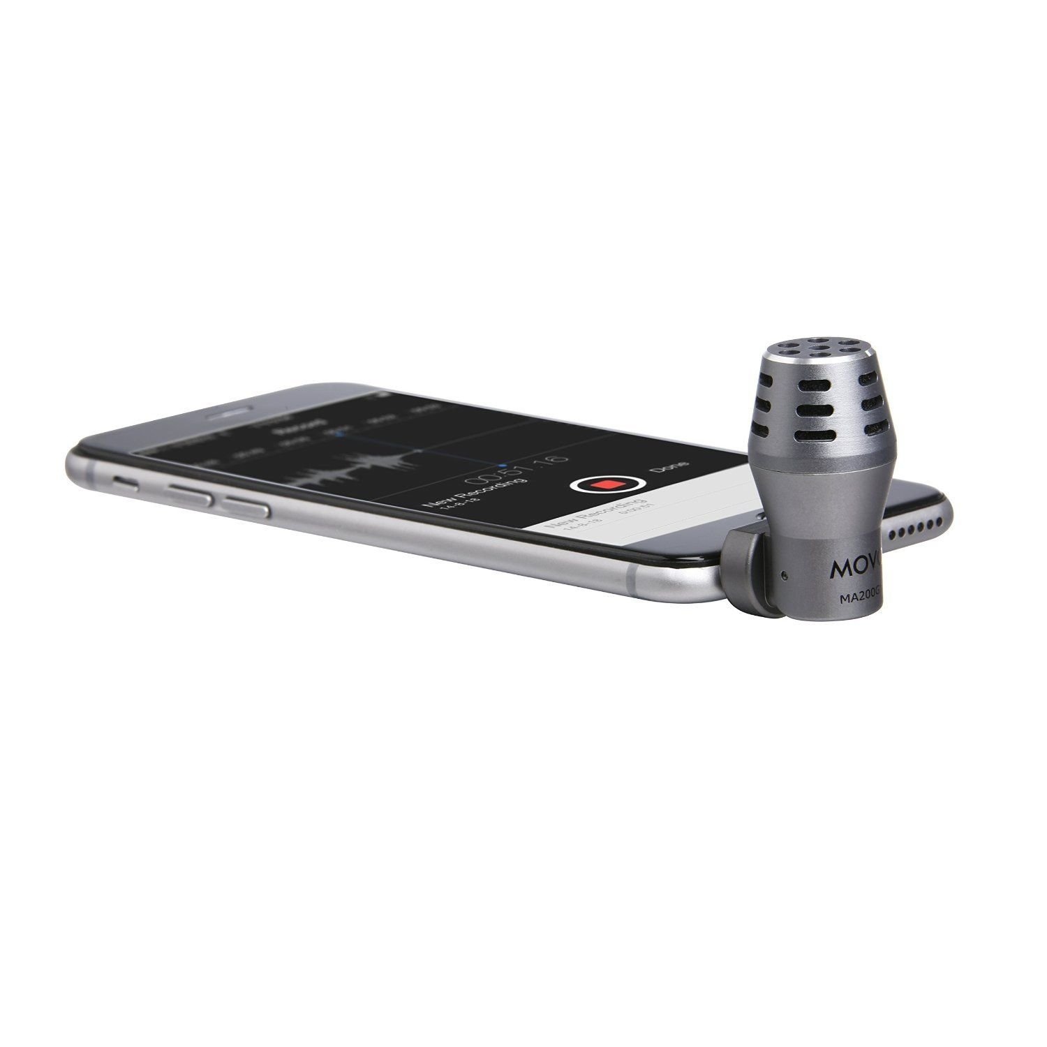 Movo MA200 Omni-Directional Calibrated TRRS Condenser Microphone for Apple iPhone, iPod Touch, iPad (Grey)