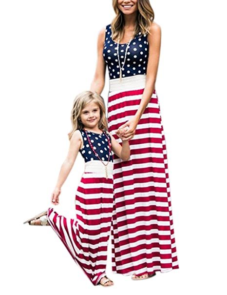 7a918e35182 Happy GoGo 4th of July American Flag Mommy and Me Stripe Stitching Beach  Maxi Dresses (
