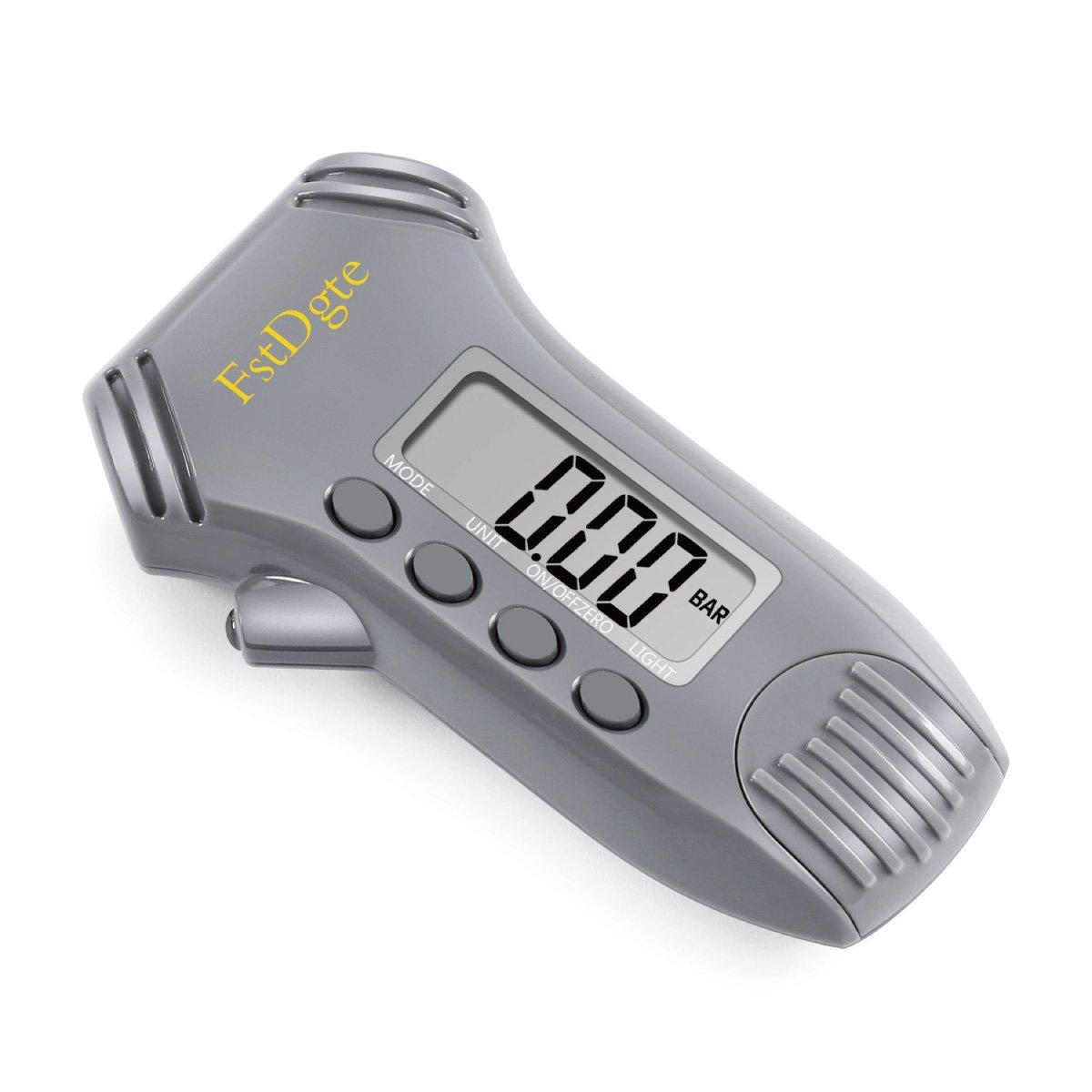 FstDgte, manometro digitale per pneumatici, profondità del battistrada/misurazione della pressione, display LCD retroilluminato e luce LED per notte, numerose unità di misura psi/bar/kgf/cm²/kPa, conversione pollici/mm per bici, moto, au