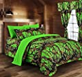 The Woods Camouflage Comforter Set by Regal Comfort Premium Luxury Comforter, Sheet, Pillowcases, & Bed Skirt Set by Regal Comfort Camo Bedding Set For Hunters Cabin or Rustic Lodge Teens Boys & Girls
