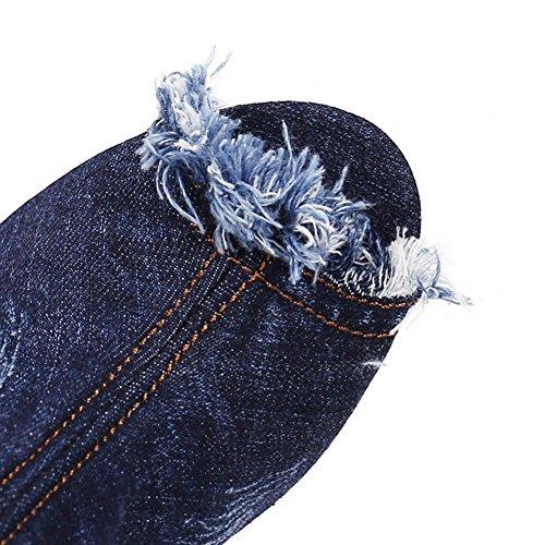 H fine stivali denim trafitto resistenza corta usura di femmina antiscivolo di HAutunno 39 tallone 1 gomma pesce blu panno bocca rnAw7rSYq