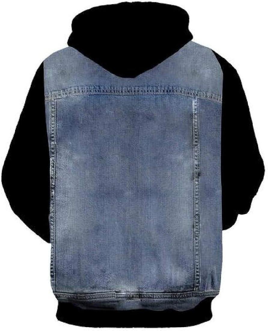 Fubotevic Mens 3D Print Long Sleeve Jacket Coat Denim Pullover Hoodies Sweatshirt