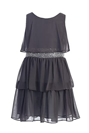 50f6c940d9bc Sweet Kids Girls Sequin Belted Chiffon Dress 10 Charcoal ( Sk 401):  Amazon.co.uk: Clothing