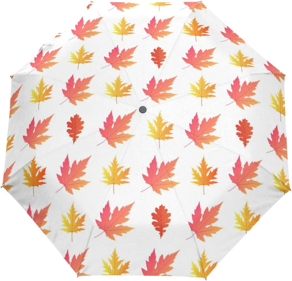 Maple Leaf Jewelry Lights fashion print cute Windproof automatic tri-fold umbrella sun UV protection Sun umbrella