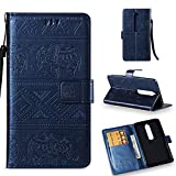 Nokia 6.1 Case, Nokia 6 2018 Case, Love Sound [Wrist Strap] [Stand Function] Premium Emboss Elephant PU Leather Wallet Flip Protective Case Cover with Card Slots for Nokia 6 2018 – Royal Blue For Sale