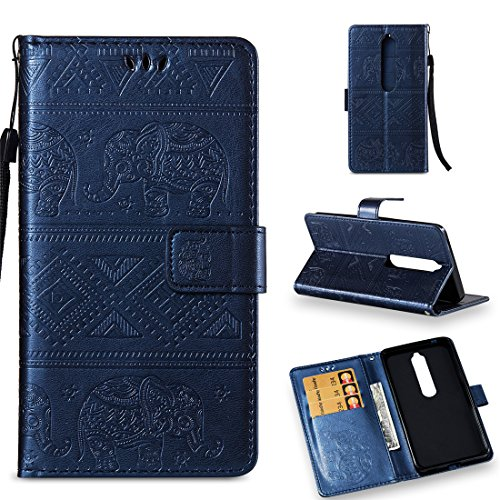 Nokia 6.1 Case, Nokia 6 2018 Case, Love Sound [Wrist Strap] [Stand Function] Premium Emboss Elephant PU Leather Wallet Flip Protective Case Cover with Card Slots for Nokia 6 2018 - Royal Blue