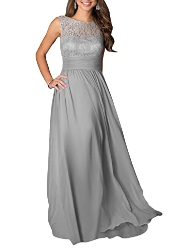 LOVEBEAUTY® Women's Long Sleeveless Chiffon Formal Prom Party Evening Dress