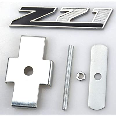 1 Pcs Grille Z71 Emblem Badge Compatible for GMC Chevy Silverado 1500 2500HD Sierra Tahoe Suburban 3D (Chrome/Black): Automotive
