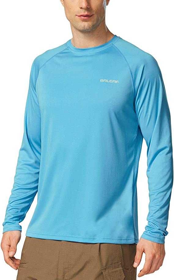 BALEAF Men's UPF 50+ Running Outdoor Long Sleeve Sun Protection Performance Athletic Workout Shirt