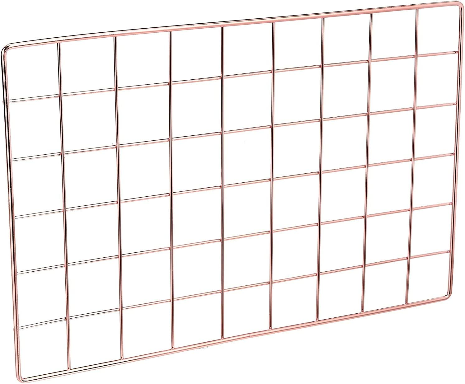 Afaris Wire Grid Panel(Only 1 Piece),Grid Photo Wall, Office Wall Organizer Ins Art Display for Bedroom, Living Room or Office, Rose Gold (Only 1 Grid Panel