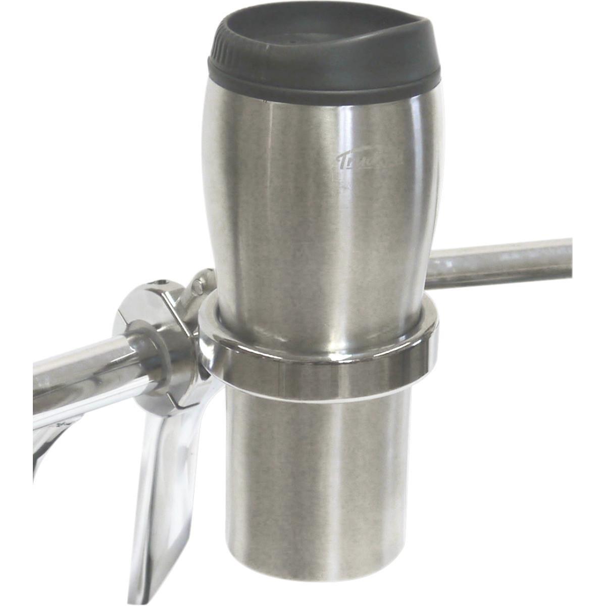 Desert Dawgs RUMFCH RoadRunner PLUS Drink Holder w/Travel Mug - 1in. thru 1-1/4in. - Chrome