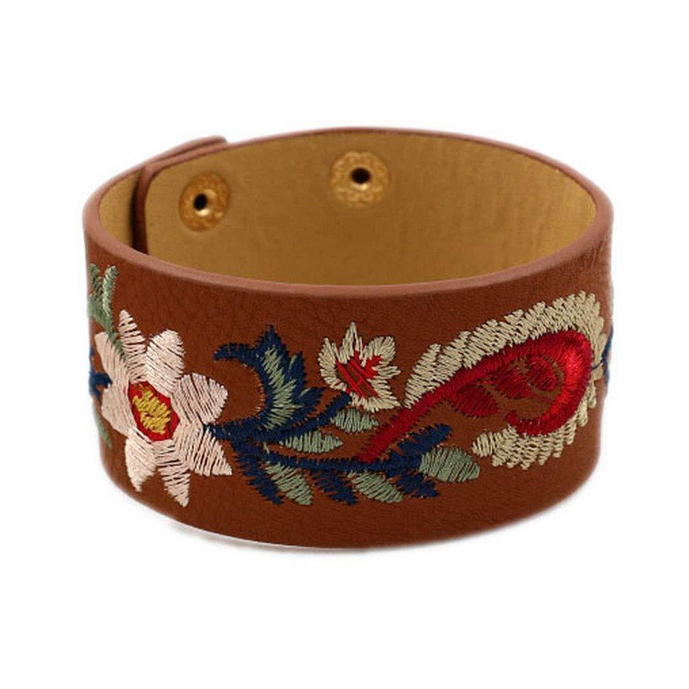 L&N Rainbery Bohemia Embroidery Flower Cuff Bracelet Female Fashion Wide PU Leather Bracelets & Bangles Women Jewelry
