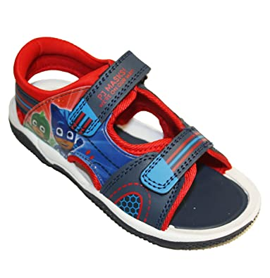 P J Masks Boys Blue Sports Beach Sandals Hook & Loop UK Size 5