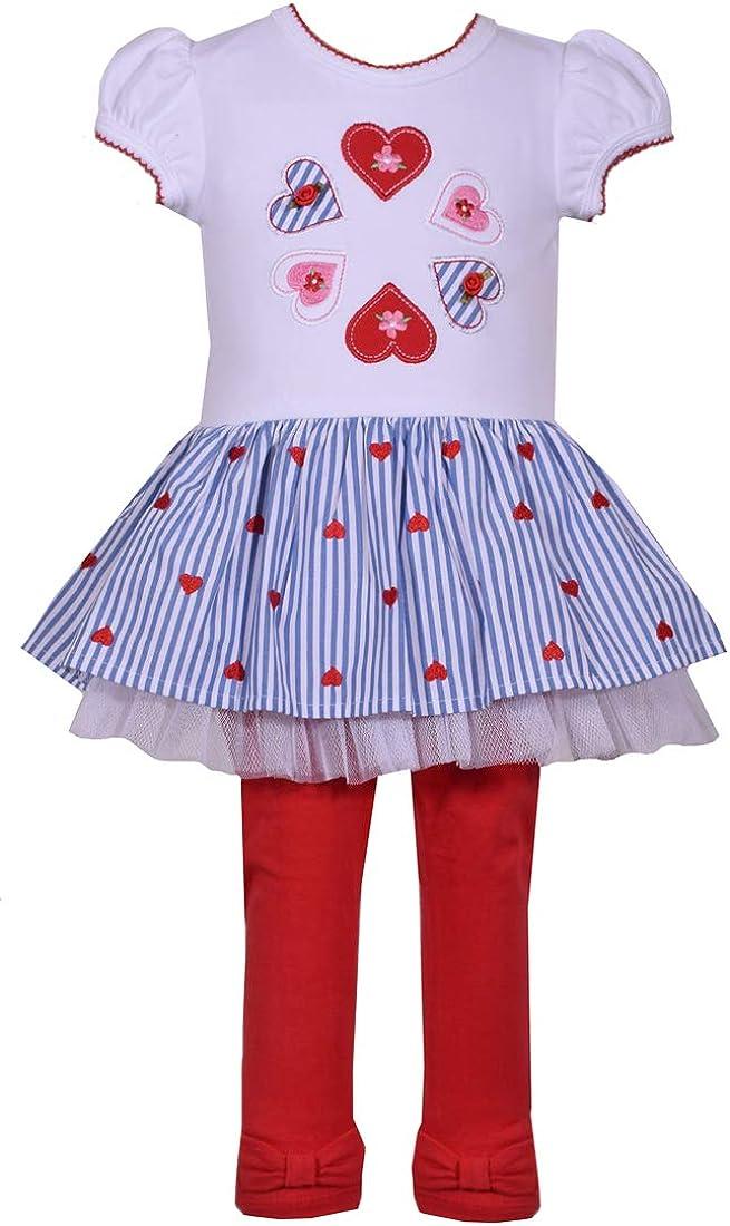 Bonnie Jean Little Girls Valentine Heart Short Sleeves Dress Leggings Set