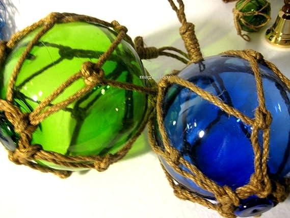 braun rot und ambere blau 4 X Fischerkugeln im Netz- grün 17,5 cm