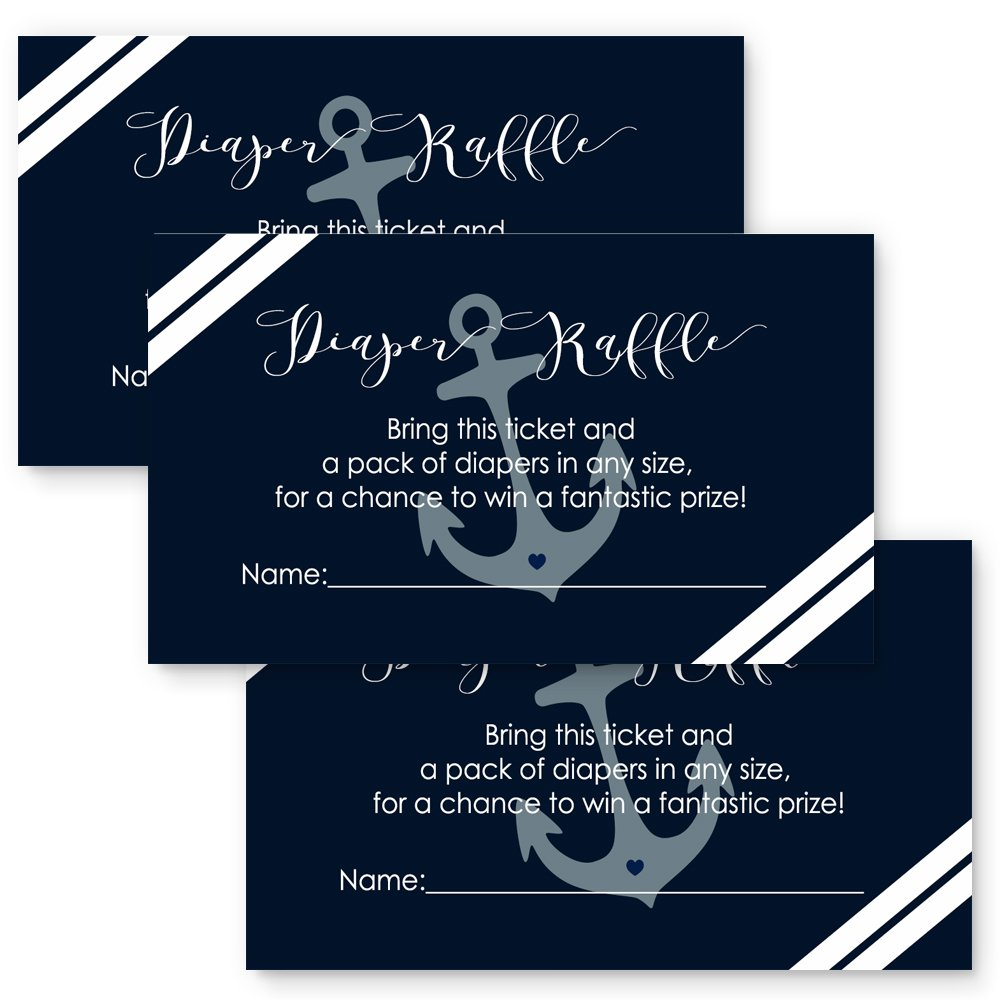 Amazon.com: Paper Clever Party Nautical Baby Shower Diaper Raffle ...
