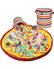 Dofilachy Toy Storage Basket and Play Mat - Toy Storage Bag for Kids Room/Outdoor Portable Container Storage Bins,Folding and Durable Classroom Toy Storage Organizer(Colourful)