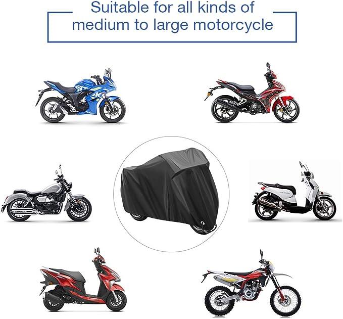 Funda para Moto Cubierta de la Moto Funda Protector para Moto Impermeable Funda para Moto 210D Tela Oxford Cubierta Protector Impermeable al Aire Libre contra Lluvia,Sol- 245X105X125cm (Negro): Amazon.es: Coche y moto