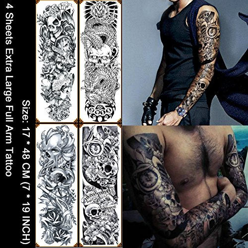 - Kotbs 4 Sheets Large Waterproof Full Arm Tattoo Sticker Skull Rose Fake Tattoos Sleeve Temporary Tattoo Body Art for Men Women