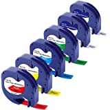 Bigger (6-Pack) Compatible Label Tapes Replacement for Dymo LetraTag Refills Plastic Label Tape 16952 91331 91332 91333 91334