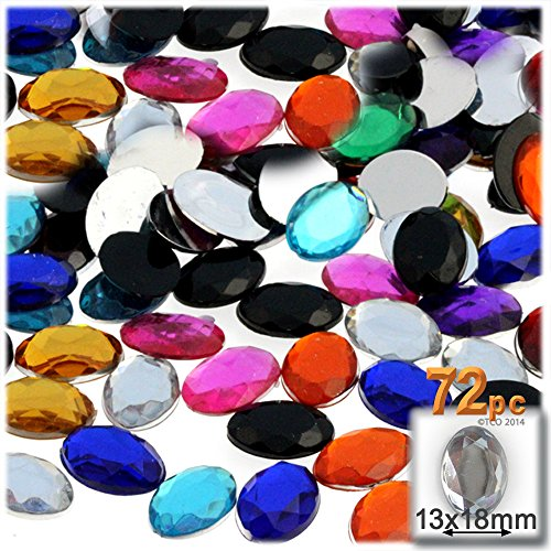 72pc Rhinestones Oval 18x13mm - Jewel Tone Assortment