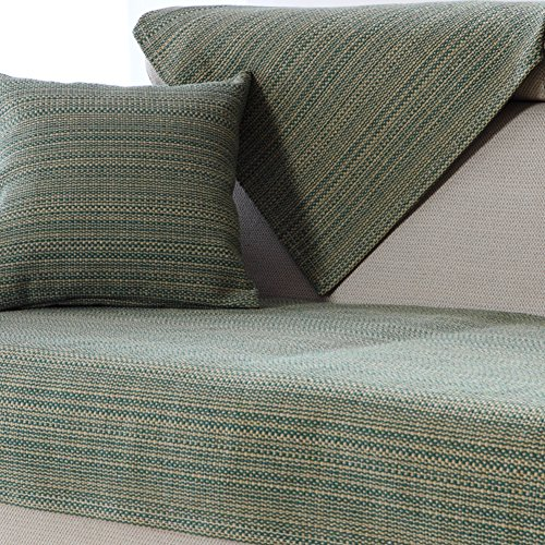 YANGYAYA Sectional Sofa slipcovers,Sofa Towel Covers,Sofa Protector Cotton Quilted Anti Slip Decorative Sofa Covers Throw Sets for Living Room Cushion Cover-Green 70x70cm(28x28inch) by YANGYAYA