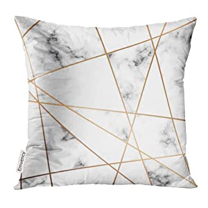 VANMI Throw Pillow Cover Gray Stone Marble Design with Golden Geometric Lines Black and White Marbling Modern Luxurious Pink Block Decorative Pillow Case Home Decor Square 18x18 Inches Pillowcase