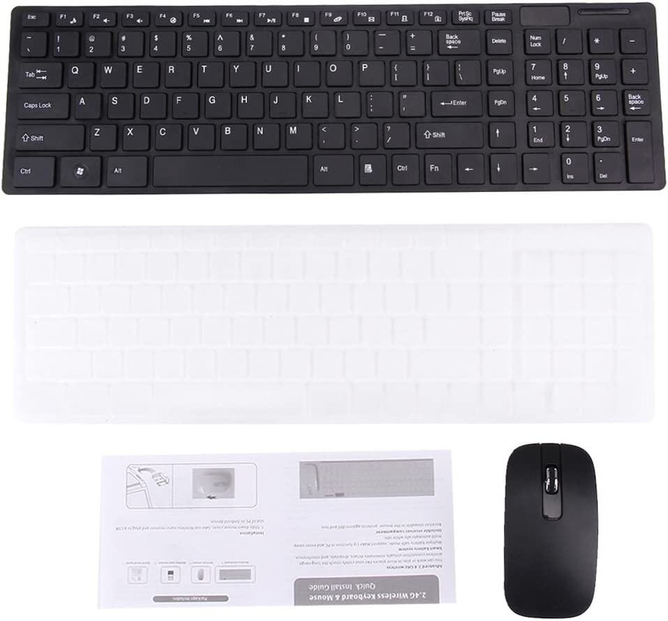 Computer accessories HA JK-906 2.4GHz Wireless 102 Keys Ultrathin Keyboard with Keyboard Cover Black Wireless Optical Mouse with Embedded USB Receiver for Computer PC Laptop Color : Black