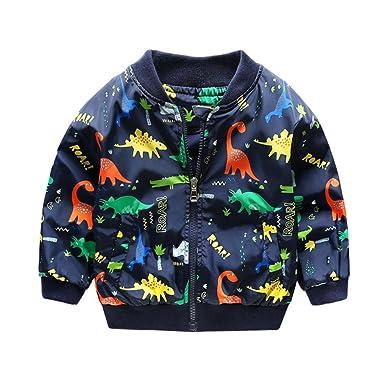 Abrigo Caliente Bebé, Internet Niños Dinosaurios Impresión Cremallera Chaqueta Lindo Dinosaurio Bebé Abrigos Ropa De