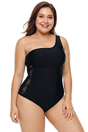 2715c86f86e7 HotsellGlobal Women s Black one Shoulder Grid Cutout Side Plus Size Maillot one  Piece Swimsuit (M