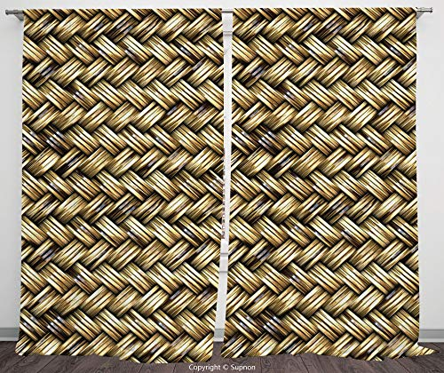 Rod Pocket Curtain Panel Polyester Translucent Curtains for Bedroom Living Room Dorm Kitchen Cafe/2 Curtain Panels/108 x 95 Inch/Abstract,Rattan Basket Weave Pattern Natural Boho Country Style -