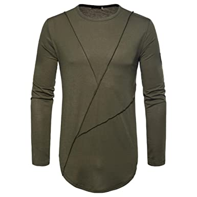 kaifongfu Mens Long Sleeve Solid Color Top Casual Panel T-Shirt Blouse Sweatshirts (Army