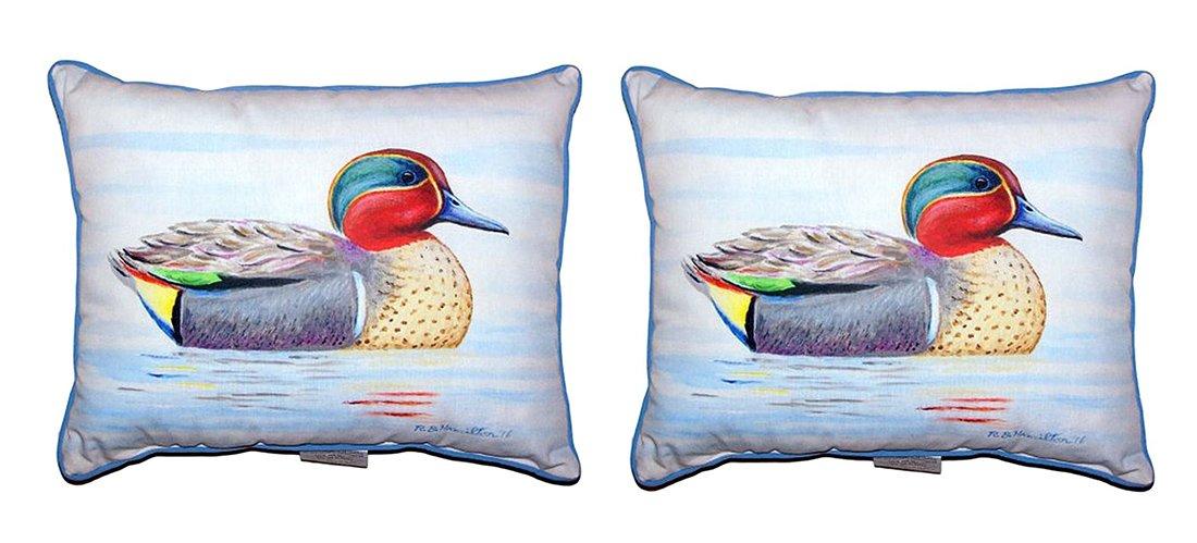 Betsy Drakeポリエステルスロー枕のペアBetsy DrakeグリーンWing Teal Small枕11 x 14 14 x 11インチマルチカラーモデル# sn335-pair B071ZTF1HJ