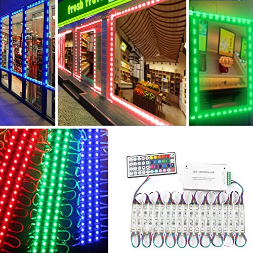 - Storefront Lights, Pomelotree 2 Pack 3 Led 40PCS 5050 Super Bright LED Module Lights Waterproof Decorative Light with Tape Adhesive for Store Window Lighting and Advertising Signs