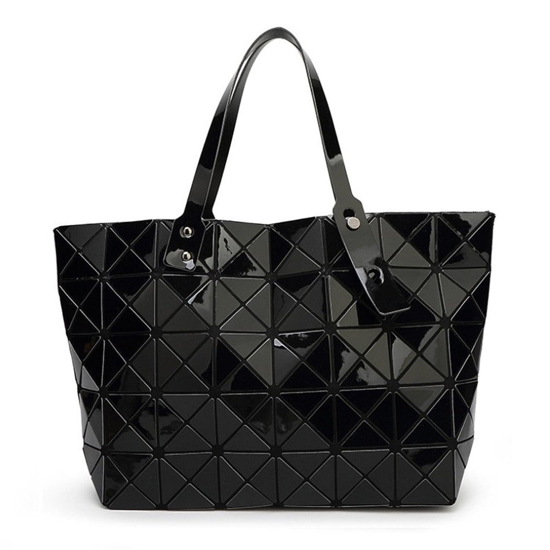 2a422b9224139 Amazon.com  Folding Handbag Fashion Casual Tote Women Geometry Top-Handle Bag  Female Shoulder Bags Diamond Lattice Black  Clothing