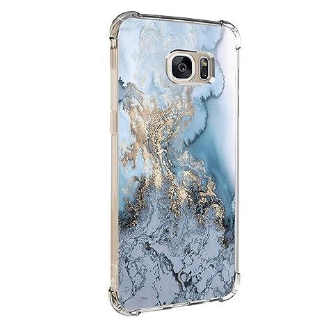 Pacyer Case kompatibel mit Galaxy S7 / S7 Edge Hülle Silikon cover Bumper [Ultra Dünn] Stoßfest Marmor grau braun hellblau TP