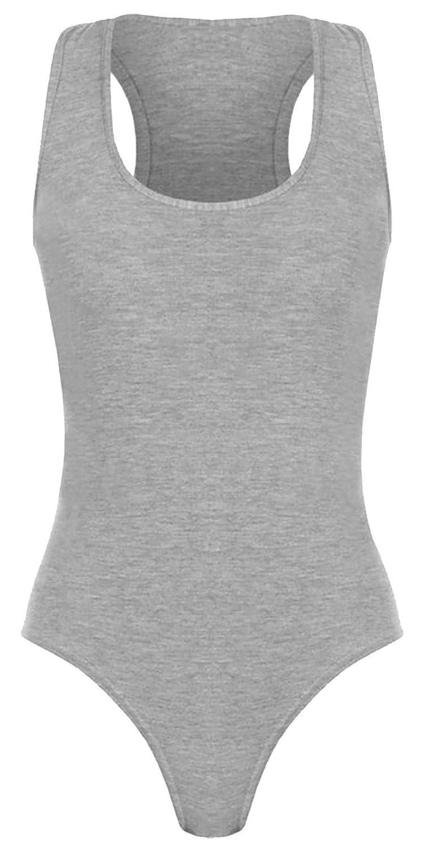 Rimi Hanger Ladies Sleeveless Muscle Racer Back Leotard Bodysuit Women Fancy Dance Wear Top S//3XL