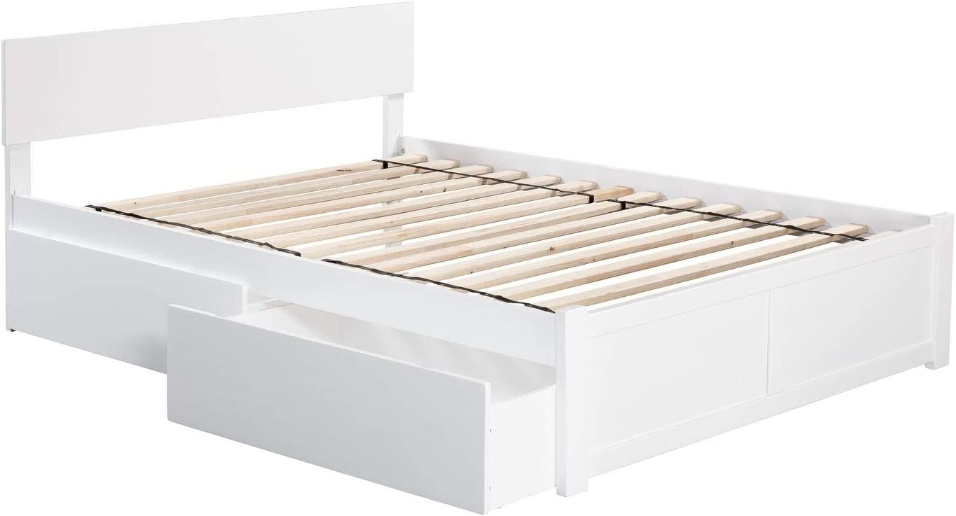 Atlantic Furniture Orlando Queen Platform Bed with Flat Panel Foot Board and 2 Urban Bed Drawers in White