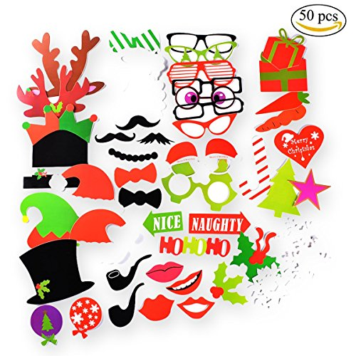 Christmas Photo Props, BearDaDa 50 Pieces DIY Kit Photo Booth Props for Xmas Party Supplies, New Year's Eve Decorations Art Crafts for Kids and - A Booth Photo To Make How Diy