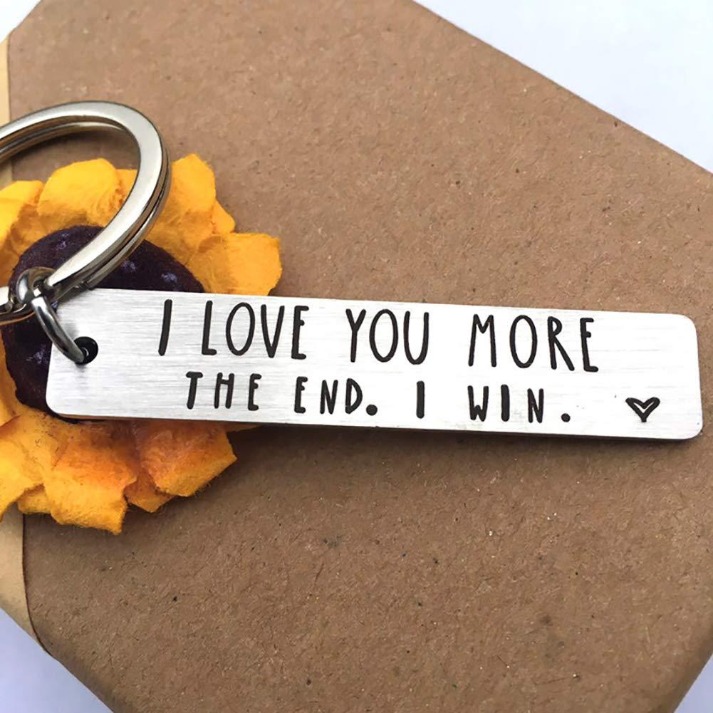 Gemini/_mall I LOVE YOU MORE THE END Letter Strip Keychain Key Ring Holder Lovers Gift Decor for Belt or Car Keys