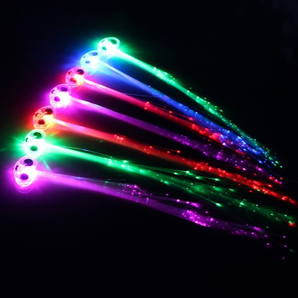 Midafon 15 Pack LED Color Changing Fiber Optic Hair Lights Barrettes Light Up