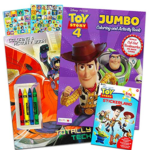 (Disney Pixar Toy Story 4 Coloring and Activity Book Bundle with Crayons and Over 550 Toy Story Stickers (Toy Story Party Supplies))